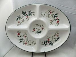 "Pfaltzgraff Winterberry pattern - oval Chip n' Dip 5 section Platter - 18"" - EUC - $28.22"
