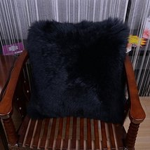HUAHOO Sheepskin Pillow Pink Black Fur Throw Pillow Case Cushion Cover 1... - $79.99