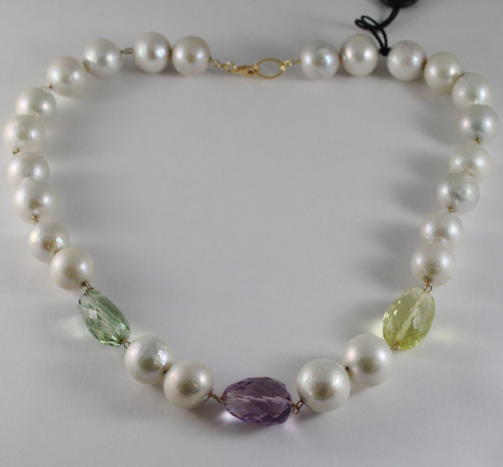 18K YELLOW GOLD NECKLACE BIG PEARLS PRASIOLITE AMETHYST LEMON QUARTZ ITALY MADE