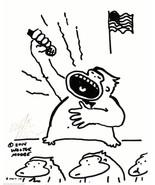 Ape Singing Anthem. Original Signed Cartoon by Walter Moore - $9.54