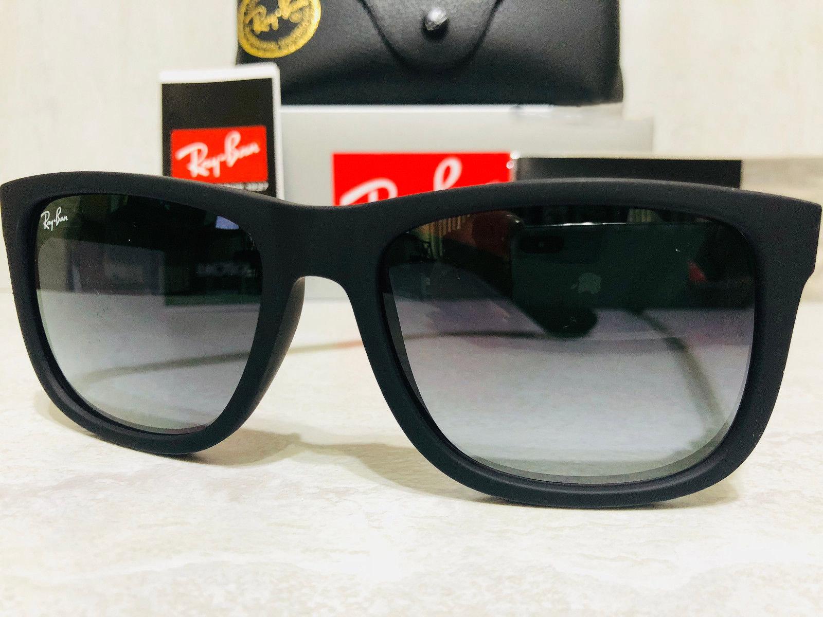 f255cb29f Ray ban men s justin rb4165 6018g 55 black frame grey lens wayfarer  sunglasses 10