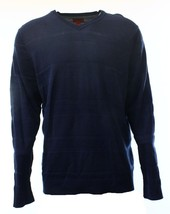 Alfani RED Sweater Men Navy Blue Knit Tonal-Stripe Texture Slim Fit V-Neck $69 - $19.99