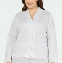 Charter club cotton purple white stripe lace Pajama TOP ONLY plus Size 1... - $10.34