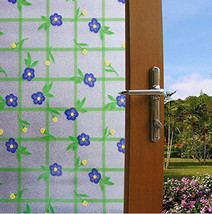"""Frosted Blue Flower Tiles Static Cling Window Film, 36"""" Wide x 9 ft - $79.15"""