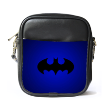 Sling Bag Leather Shoulder Bag Batman Logo Blue Design Batman Arkham Kni... - $14.00