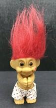 "Vtg Russ 3"" Troll Doll w/ Kiss on Cheek and Boxers w/Hearts - Valentine'... - $14.03"