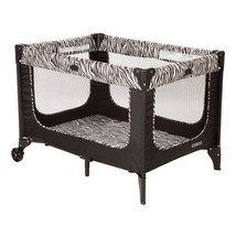 Portable Baby Crib Play Yard Porta Toddler Napper Padded Floor Zebra Print - $49.92