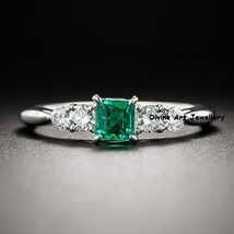 White,Green Diamond 5 Stone Radiant Cut Anniversary Ring In Solid 14k White Gold - $389.99