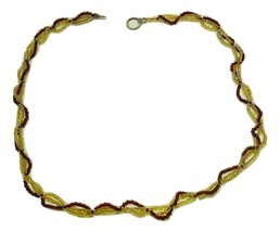 Hand crafted bead necklace,  Dark red and honey colored multi-strand  - $9.99