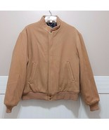 Vingage 60's WOOLRICH Bomber Coat Mens Large Tan Wool Plaid Zip Up Warm ... - $72.07