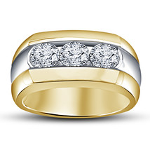 Mens Wedding Engagement Diamond Ring Band 14k Gold Finish 925 Sterling S... - $84.99