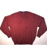 Men's Large Joseph A Bank Sweater V-Neck 100% Merino Wool red Cranberry ... - $23.74