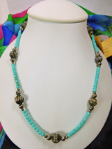 """Artisan Made Green Czech Glass & Silver Bead Necklace 20"""" w/Sterling Hook Clasp - $5.00"""