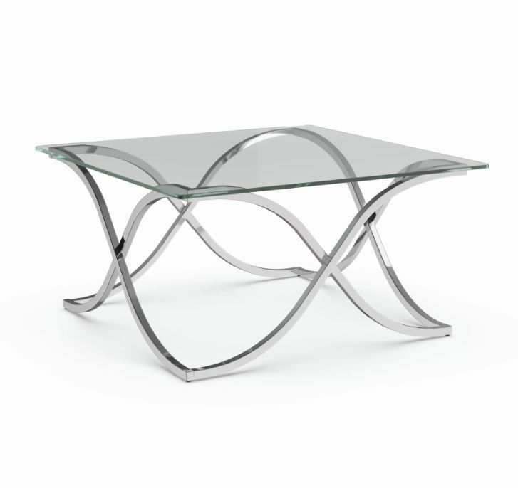 Low Metal And Glass Coffee Table: Coffee Table With Glass Top Low Square Cocktail Metal