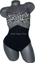 NWT GOTTEX maillot swimsuit 8 tummy control slimming black white pink tank - $67.89