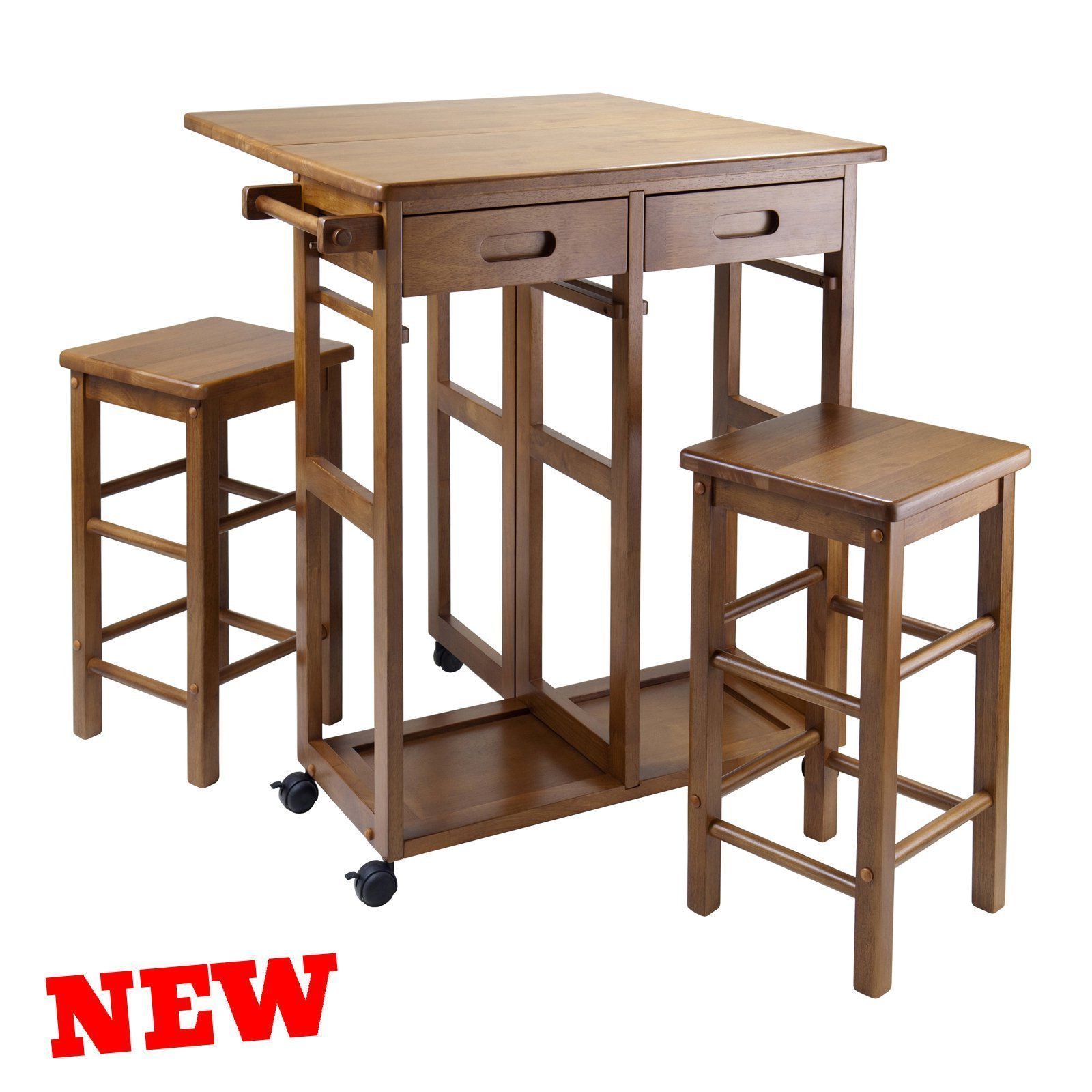 Kitchen Island Tables With Stools: Small Kitchen Island Table Stools Set Space Saver Drop
