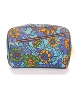 Vintage 1960/70's Retro Light Blue Floral Canvas Travel Suitcase Made in... - $13.95