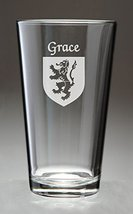 Grace Irish Coat of Arms Pint Glasses - Set of 4 (Sand Etched) - $56.79