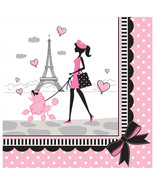 Party in Paris Birthday 18 Lunch Napkins Eiffel Tower Girl Poodle - $4.55