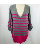 JCP Penneys V Neck Gray Pink Stripe Sweater 2X Dolman Sleeve  - $39.59