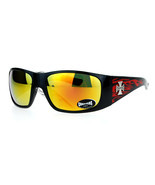 Choppers Flame Sunglasses Wrap Around Shield Frame Biker Shades UV 400 - £7.92 GBP