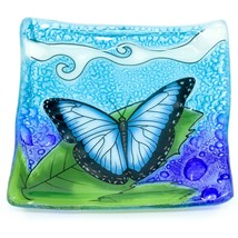 Fused Art Glass Blue Morpho Butterfly Design Square Soap Dish Handmade Ecuador