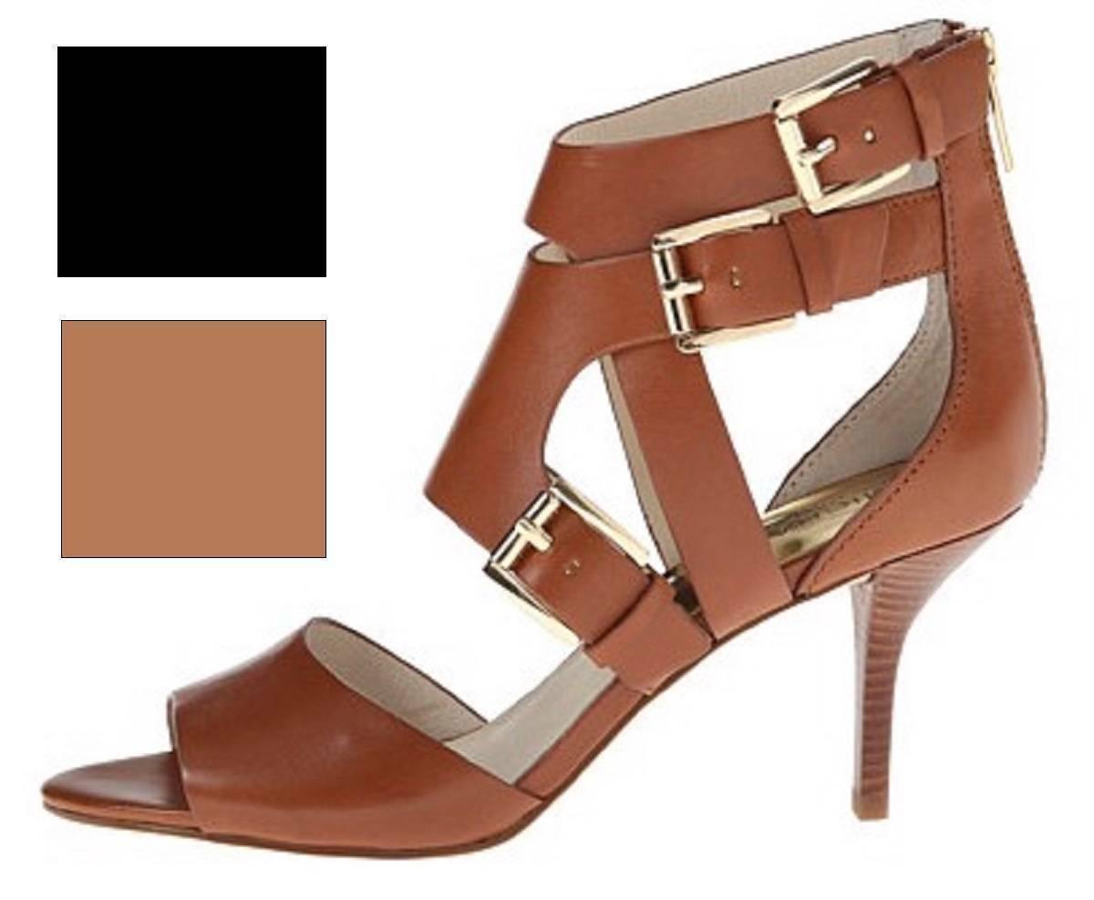 Women's Michael Kors LUCINDA OPEN TOE Heels Sandals Leather Black or Luggage