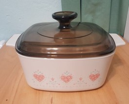 Corning Ware Pink Hearts Forever Yours Casserole Dish 1.5 Liter With Pyr... - $21.47