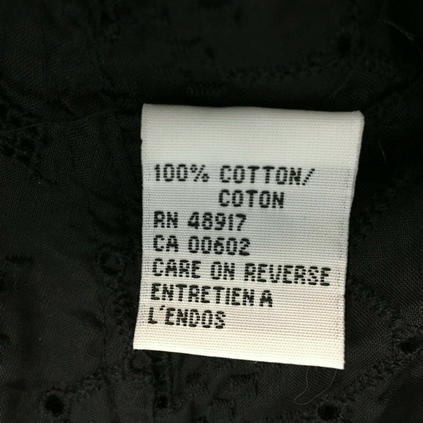 Calvin Klein 14 Large Top Button Shirt Black Eyelet Dot Square Texture Peplum LN image 7