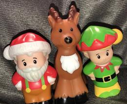 Santa Elf Reindeer Fisher Price Lot Set Htf Holiday Little People - $34.65