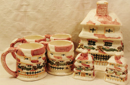 Windsor Christmas Holiday Home Cookie Jar Mugs Salt Pepper Shaker Set - $39.58
