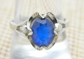 .925 Sterling Silver Blue Spinel Rhinestone Ring Size 9 Vintage - $24.74