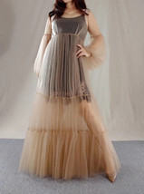 High Waistline Maxi Dress Gown Long Sleeve Loose Holiday Dress Gowns Plus Size image 1