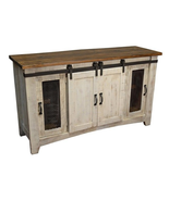 "Anton White Finish 70"" Rustic TV Stand Real Solid Wood Western Cabin Lodge - $935.55"