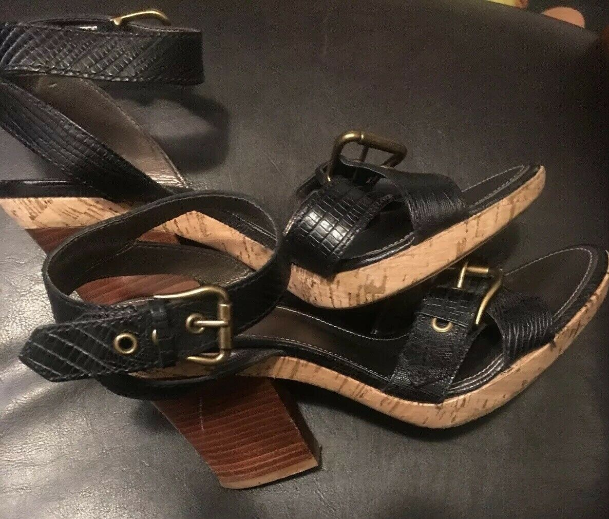 franco sarto womens leather wooden high heels sandals strappy blk sz 9.5 image 5