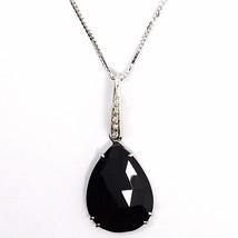 Necklace White Gold 750 18K, Drop Black Spinel, Diamond Chain, Veneta image 2