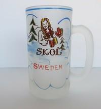 Vtg Beer Mug Frosted Glass Sweden Skol Possibly Gay Fad Hazel Atlas - $14.99