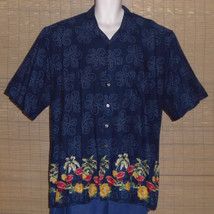 Natural Issue Hawaiian Shirt Blue Red Gold Cocktails Flowers Palm Trees ... - $25.73