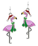 Christmas Flamingo Earrings - Green Scarf Santa Hat - $7.96+