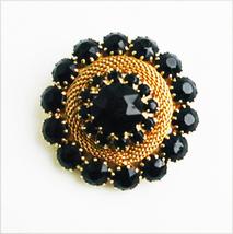 Black rhinestone pin gold tone mesh setting 1 1/2 inch brooch jewelry - $28.00