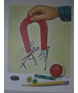 Science Art Print - Hand Magnet - Vintage David C Cook Litho - Ed Lafferty - $10.80