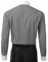 Berlioni Italy Men's Premium Classic White Collar & Cuffs Two Tone Dress Shirt image 7