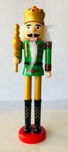 Nutcracker King w/ Scepter Plastic Christmas Decor Greenbrier Green Gold... - $16.44