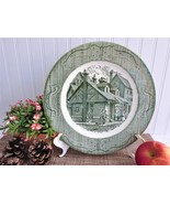 Green Transferware Dinner Plate Old Curiosity Shop 10 Inches 1940s USA I... - $18.00
