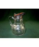 Antique Glass Syrup Pitcher, 8 Sides, Hand Blown w/Brass Lid, #SP06 - $48.95