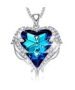 Crystals From Swarovski Necklaces Fashion Jewelry Women Pendant Blue Rhi... - $30.39