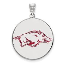 Sterling Silver LogoArt University of Arkansas XL Enamel Pendant - $102.00