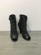 GIVENCHY Black Leather High Heel Open Toe Lace Up Ankle Boots Booties Sz US 8.5 - $228.76