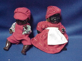 Vintage Ceramic Black Afro American Dolls (1) Boy and (1) Mammy both joi... - $49.49