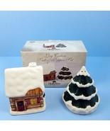 Log Cabin Salt Pepper Shakers Set Winter Snow Christmas HollyTree Holida... - $18.99